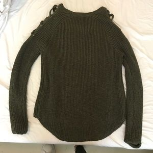 Olive Shoulder Cut Out Sweater